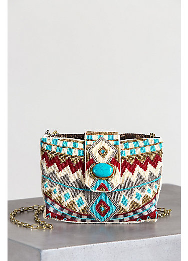 Mary Frances Turquoise Power Beaded Mini Clutch with Shoulder Strap