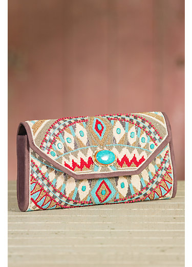 Mary Frances Turquoise Power Beaded Large Clutch with Shoulder Strap