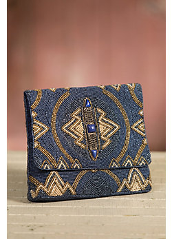 Wild Blue Mary Frances Designer Clutch Handbag