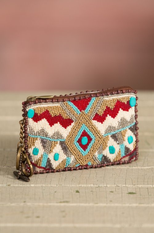 Mary Frances Turquoise Power Keychain Coin Pouch