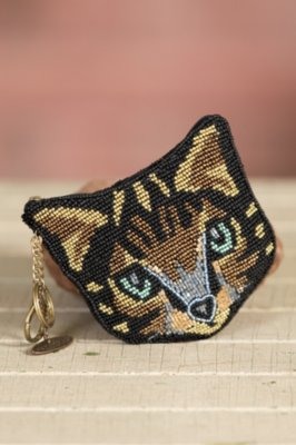 Here Kitty Kitty Mary Frances Designer Coin Pouch