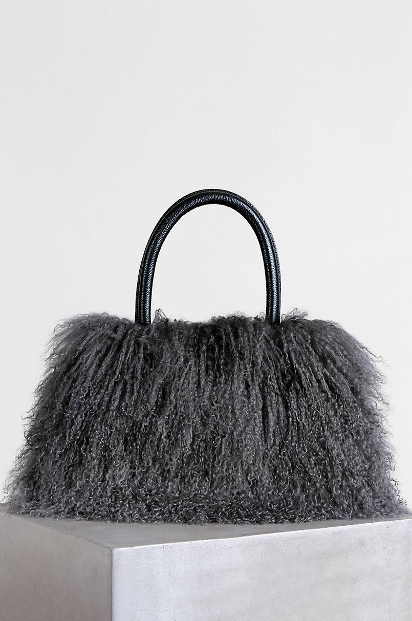 Regina Tibetan Lamb Fur Top Handle Handbag