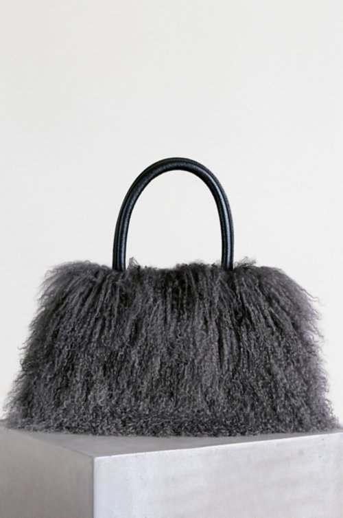 Regina Tibetan Lamb Fur Top Handle Handbag