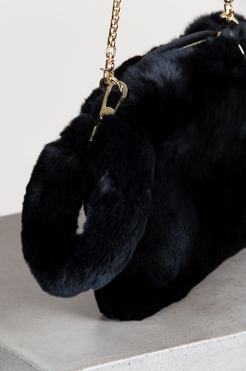 Rex Rabbit Fur Crossbody Wristlet Clutch