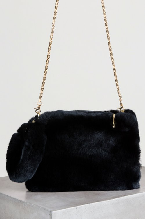 Rex Rabbit Fur Crossbody Wristlet Clutch