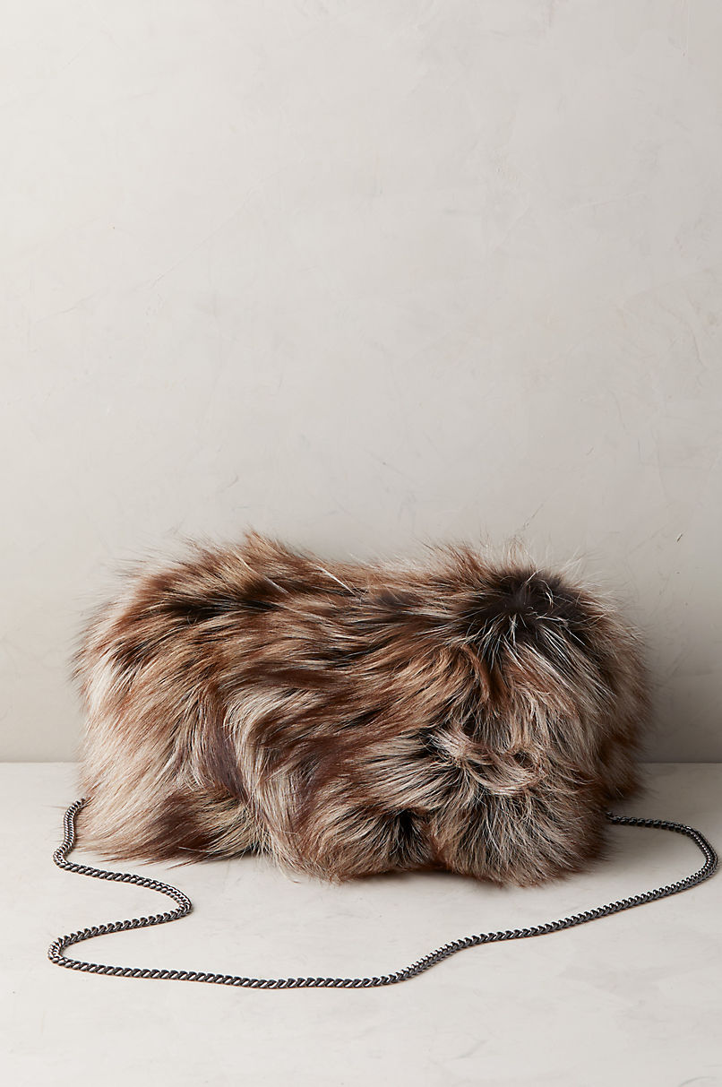 Silver Fox Fur and Leather Muff Clutch Shoulder Bag
