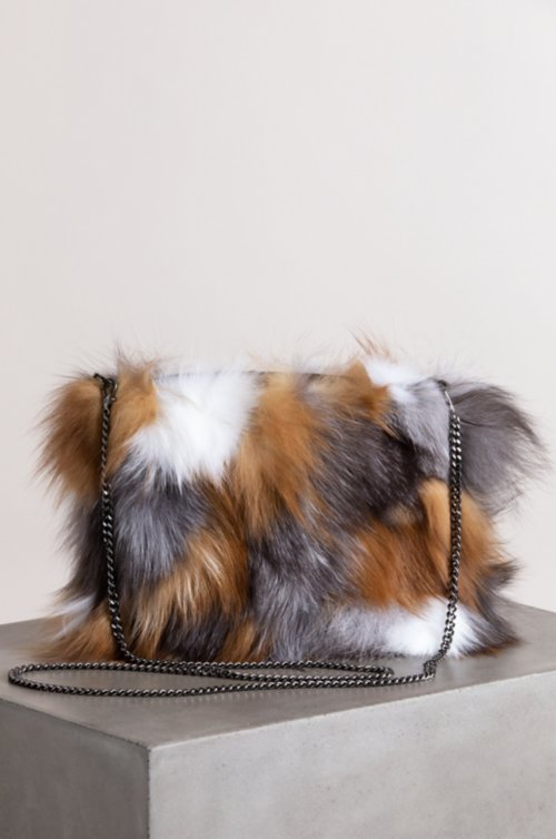 Fox Fur Section Crossbody Wristlet Clutch