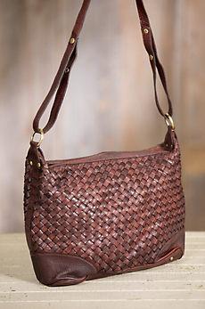 Overland Ira Woven Cowhide Crossbody Handbag