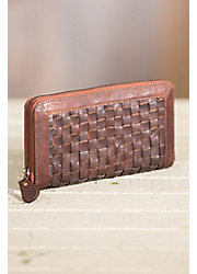 Overland Sana Lambskin Leather and Woven Cowhide Clutch Wallet