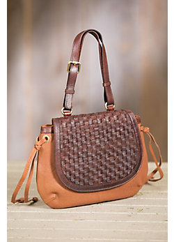 Overland Zara Lambskin Leather and Woven Cowhide Crossbody Handbag