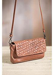 Overland Myra Woven Lambskin Leather Crossbody Clutch Handbag