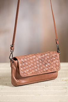 Overland Myra Woven Lambskin Leather Crossbody Clutch Handbag