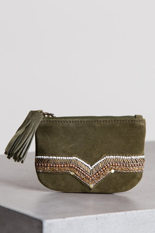 Sahara Sunset Suede Coin Pouch Wallet with Tassel