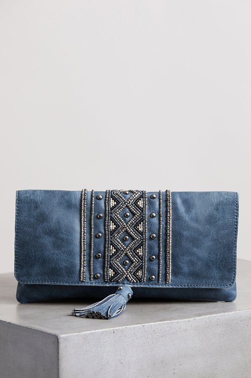 Sahara Sunset Beaded Leather Crossbody Clutch