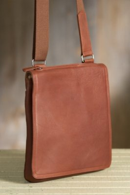 Flat North South Euro Leather Messenger Bag