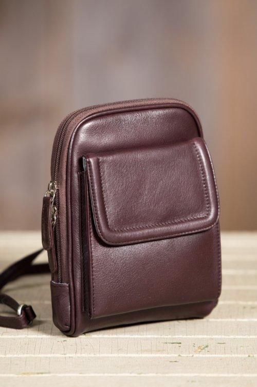 Cashmere Leather Mini Organizer Crossbody Bag