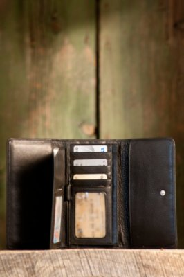 Leather Wallet with Removable Checkbook
