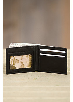 Ultra Mini Leather Billfold Wallet with ID Window