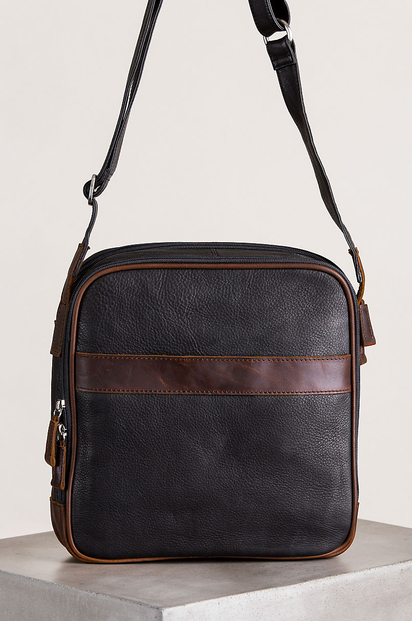 Calvin Argentine Leather Crossbody Traveler Bag with RFID Pocket