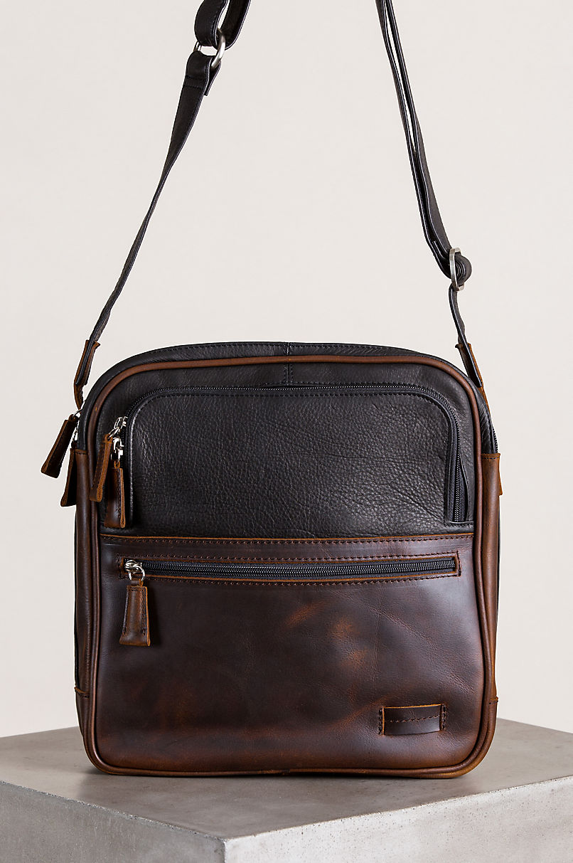 Calvin Argentine Leather Crossbody Traveler Bag with RFID Pocket