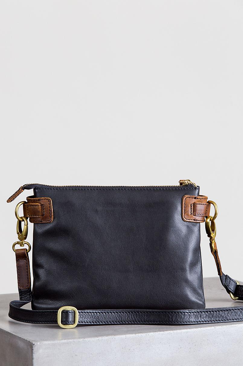 Lillian Two-Tone Leather Crossbody Clutch
