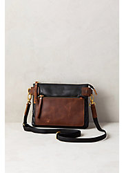 Lillian Two-Tone Leather Crossbody Clutch Handbag
