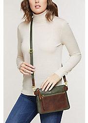 Lillian Two-Tone Leather Crossbody Clutch Handbag