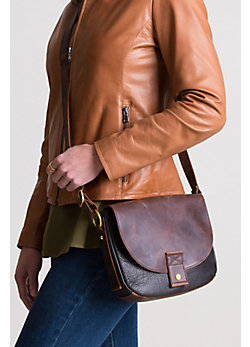 Phoebe Two-Tone Leather Crossbody Handbag