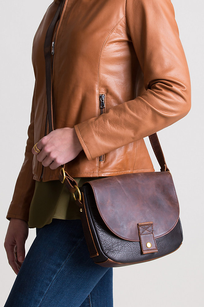 Phoebe Two-Tone Leather Convertible Crossbody Shoulder Bag