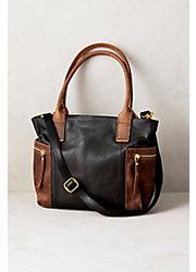 Amelia Two-Tone Leather Crossbody Tote Bag