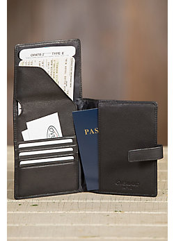 Distressed Leather Passport Wallet with RFID Protection
