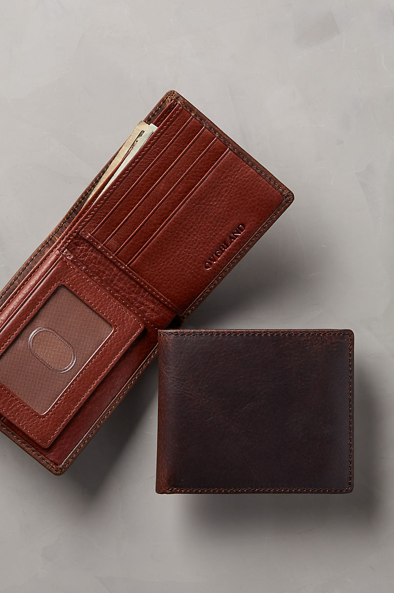 Distressed Leather Billfold Wallet with Removable Passcase and RFID Protection