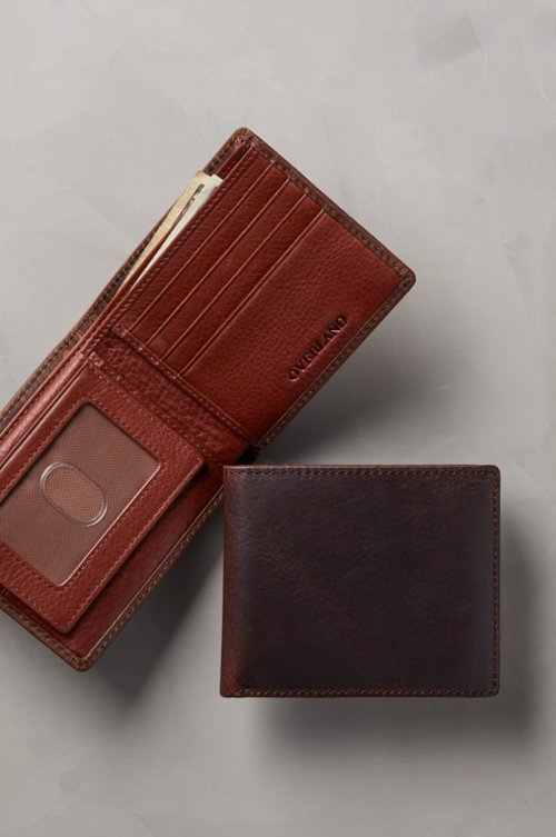 Distressed Leather Billfold Wallet with Removable Passcase
