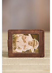 Distressed Leather Money Clip with ID Window and RFID Protection