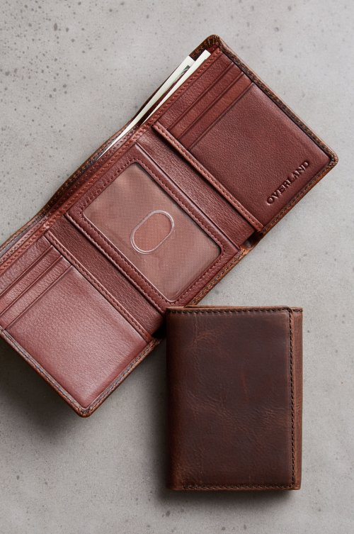 ID Trifold Distressed Leather Wallet with RFID Protection