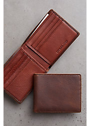 Mini Thinfold Distressed Leather Billfold Wallet with RFID Protection
