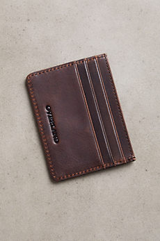 Slim Distressed Leather Wallet with ID Window and RFID Protection
