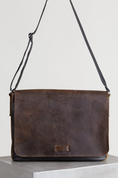 Malachi Distressed Argentine Leather Convertible Messenger Bag