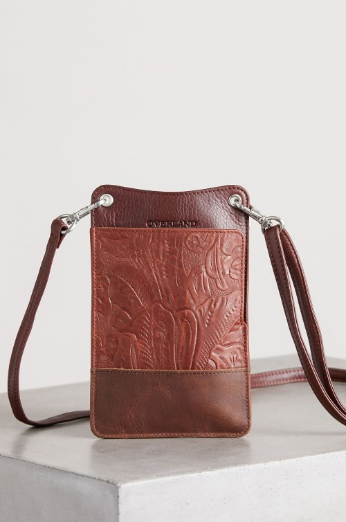 Roma Floral Embossed Leather Crossbody Clutch