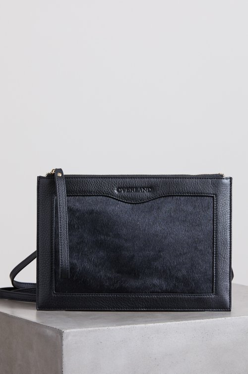 Belleville Cowhide Leather Crossbody Wristlet Clutch