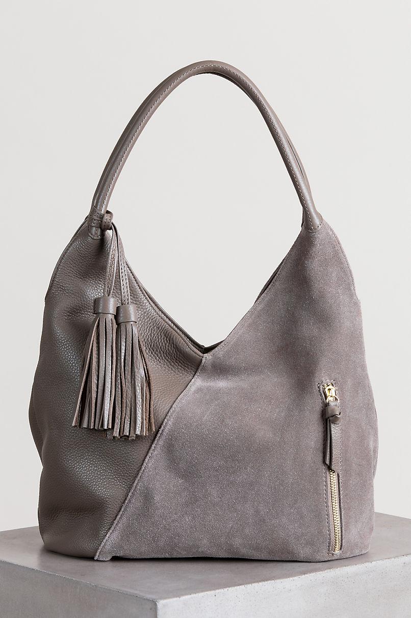 Westminster Pebbled Leather and Suede Shoulder Bag