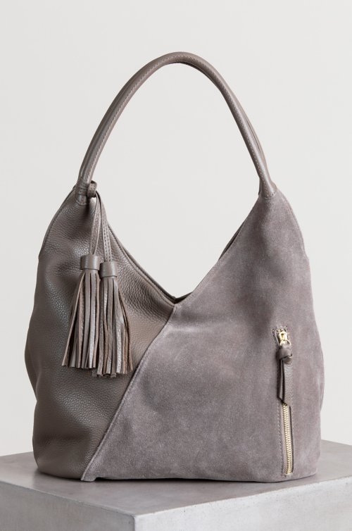 Westminster Pebbled Leather and Suede Shoulder Bag