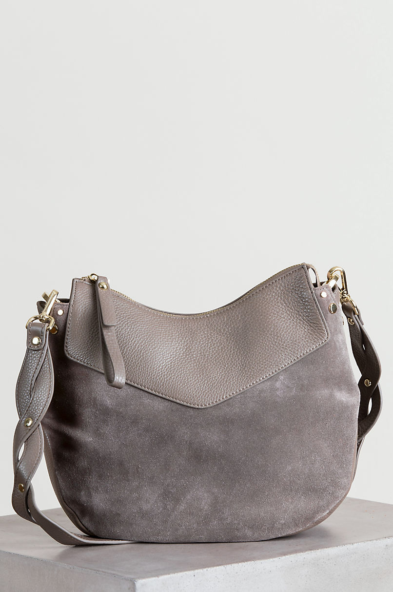 Westminster Slim Pebbled Leather and Suede Shoulder Bag