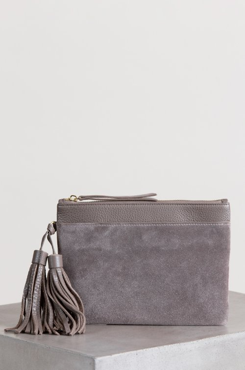 Westminster Pebbled Leather and Suede Wristlet Clutch