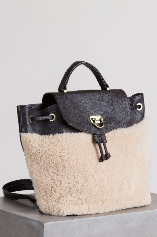 Kodiak Pebbled Leather and Sheepskin Backpack Purse