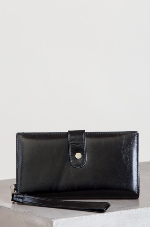 Ava Oiled-Leather Wristlet Clutch Wallet