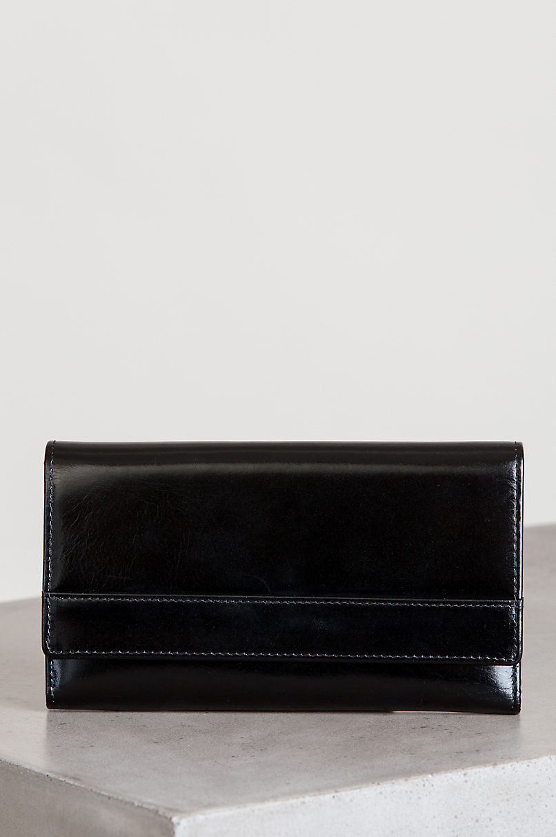 Ruby Oiled-Leather Clutch Checkbook Wallet