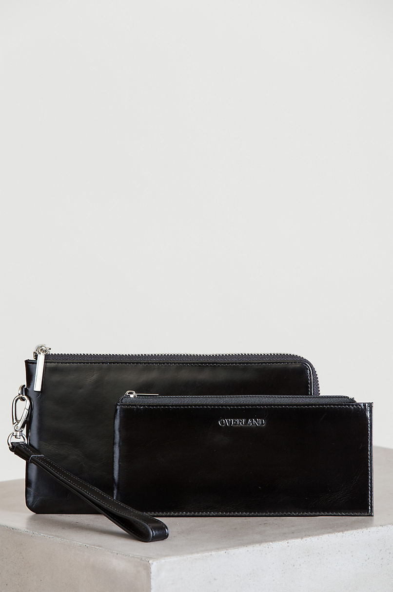 Lana Oiled-Leather Wristlet Clutch Wallet