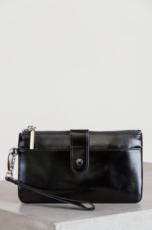 Ember Oiled-Leather Wristlet Clutch Wallet