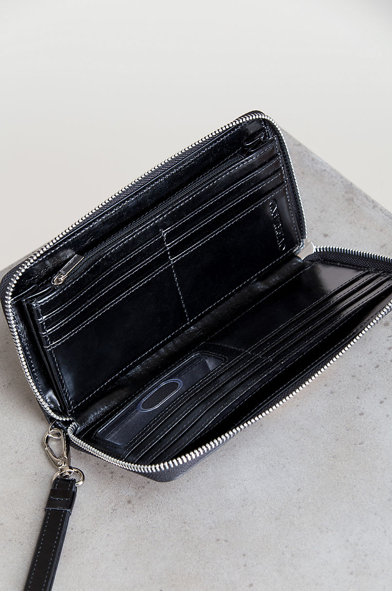 Mable Oiled-Leather Phone Holder Wristlet Clutch Wallet